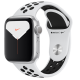Apple Watch Series 5 GPS 44mm Silver Aluminum Case with Pure Platinum Black Nike Sport Band MXV2